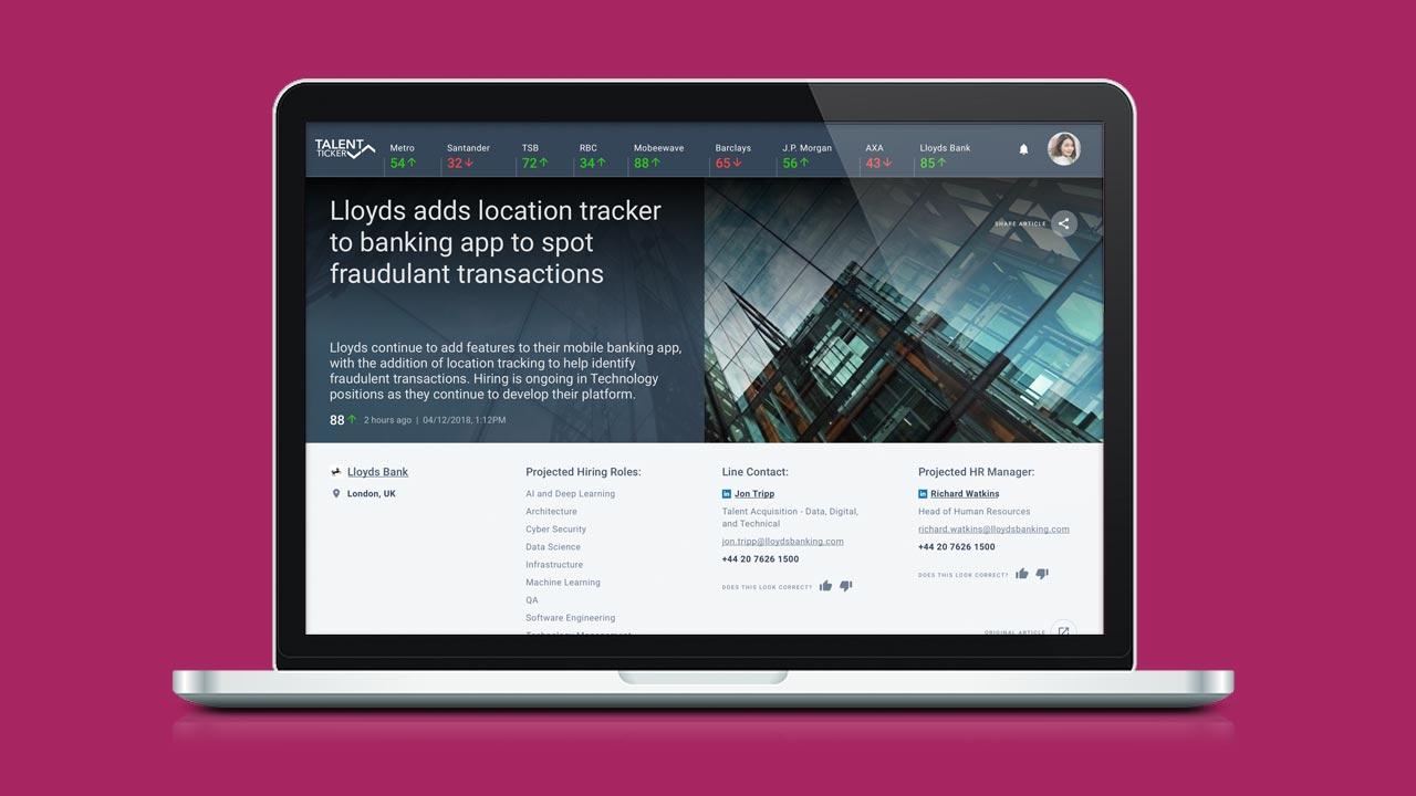 Talent Ticker Website UX/UI